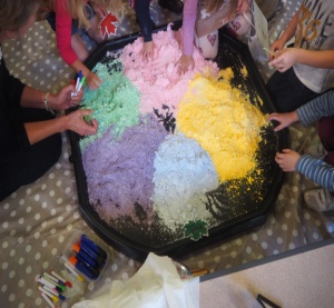 The children play with coloured dough at Harvest Messy Church (Click to enlarge)