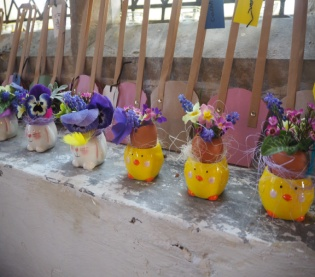 Eggshell flower decorations at Spring Messy Church