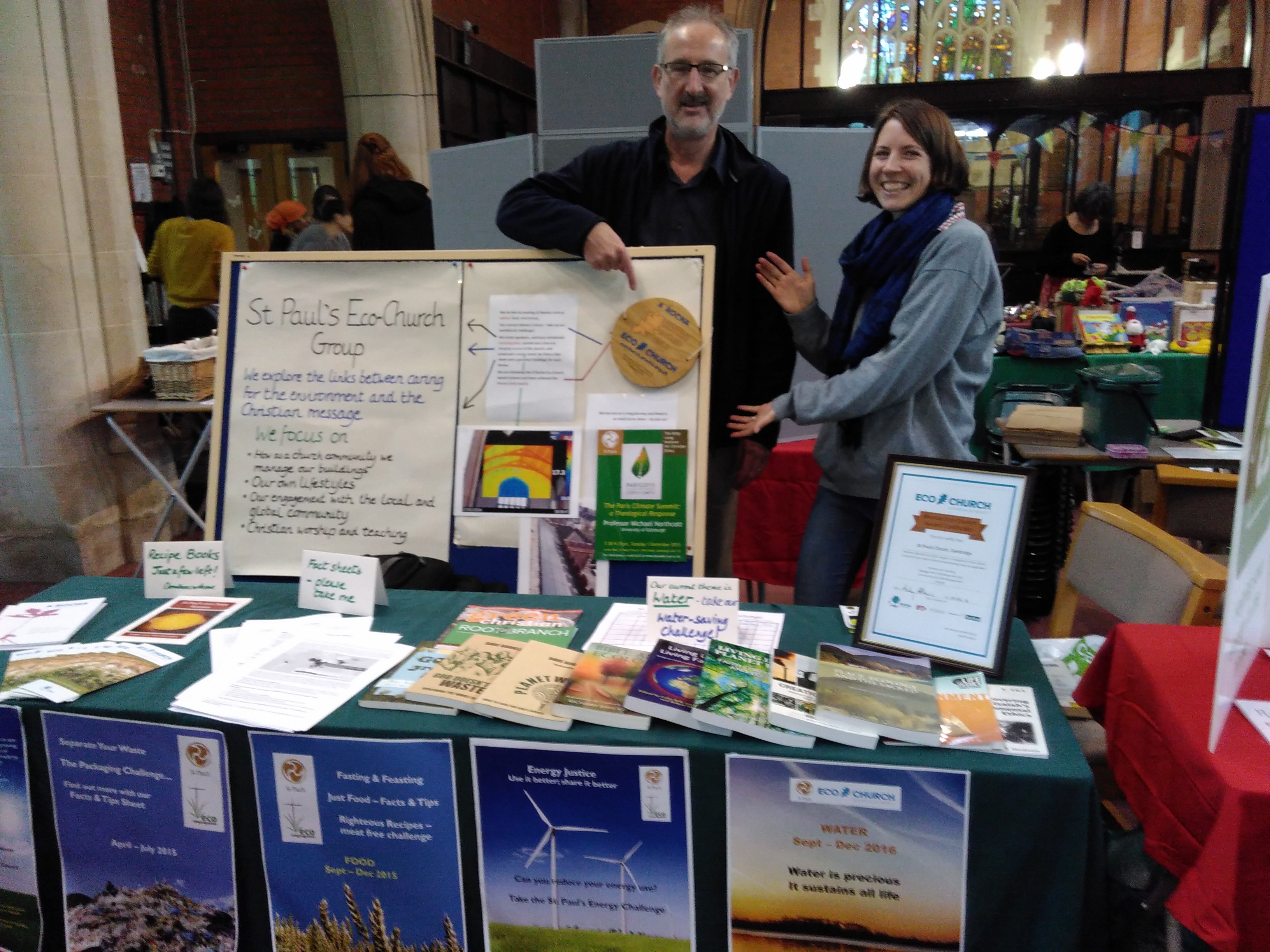Members of St Paul's Ecochurch group proudly show off their Bronze Ecochurch Award