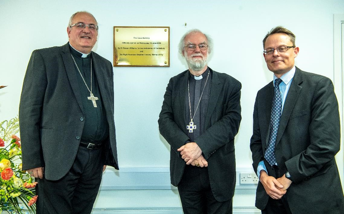 LR: Rt Revd Stephen Conway, Bishop of Ely, former Archbishop of Canterbury, Dr Rowan Williams, Andrew Read, CEO DEMAT (Click to enlarge)