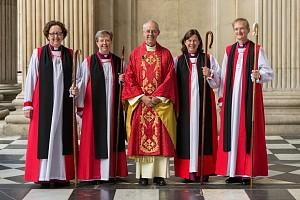 Archbishop Justin Welby, centre, Rev Danon Dr Dagmar Winter, Bishop of Huntingdon, right (Click to enlarge)