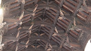 The church has a double hammer beam angel roof. Credit: ITV News Anglia (Click to enlarge)
